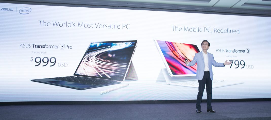 ASUS Chairman Jonney reveals the latest transformer 2 in 1 devices Tranformer 3 Pro-